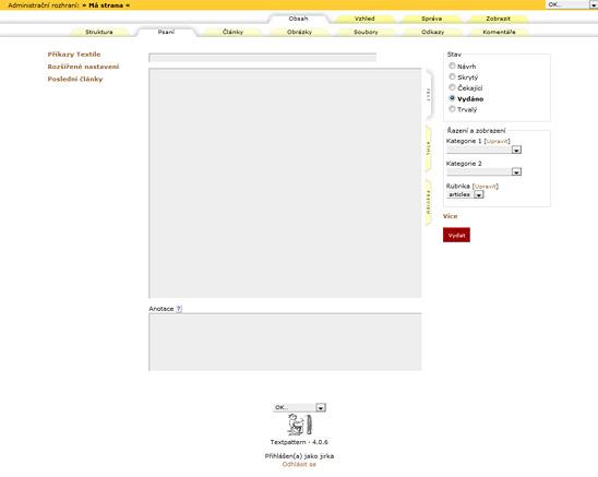 Standardní vzhled Textpatternu po instalaci