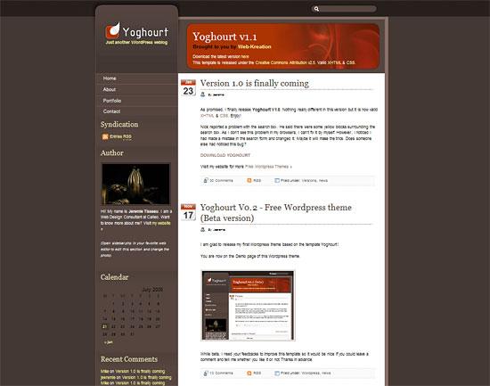 Yoghourt - Wordpress theme zdarma ke stažení