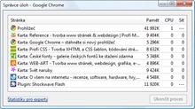 Google Chrome - správce úloh