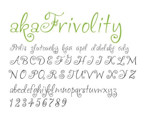 akaFrivolity -nejstahovanější font za červen - české fonty zdarma ke stažení