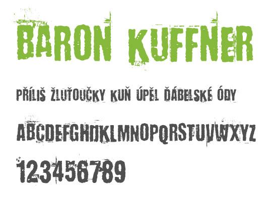 Baron Kuffner -nejstahovanější font za červen- české fonty zdarma ke stažení