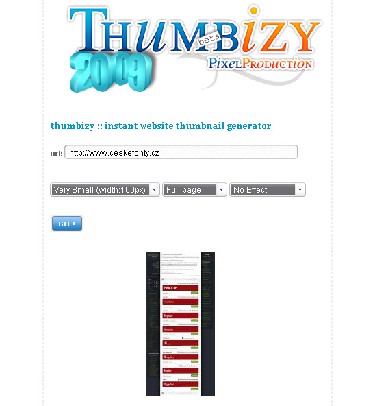 Online generátor náhledů internetových stránek