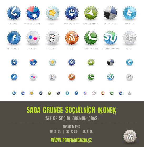 Sada grunge sociálních ikon a linkovacích služeb
