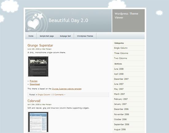 Wordpress Theme: Beautiful Day zdarma ke stažení