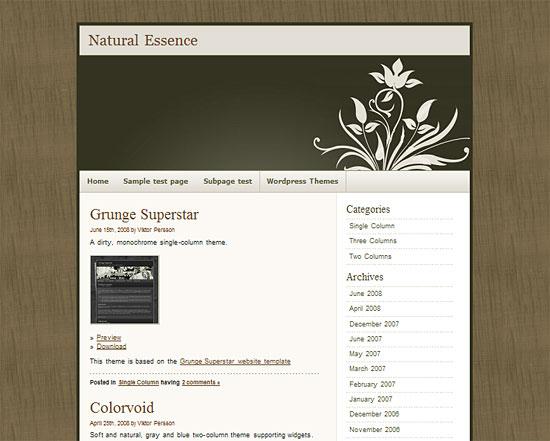 Wordpress Theme: Natural Essence zdarma ke stažení
