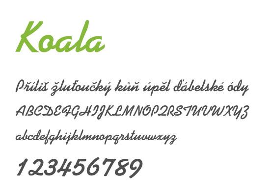 Koala -nejstahovanější font za květen - české fonty zdarma ke stažení