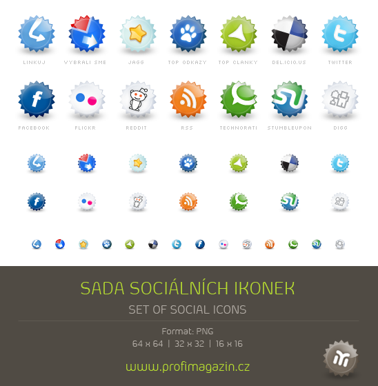 Sada sociálních ikon a linkovacích služeb